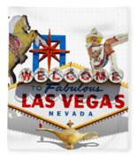 Las Vegas Symbolic Sign On White Fleece Blanket