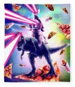 Laser Eyes Space Cat Riding Dog And Dinosaur Fleece Blanket