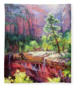 Last Light In Zion Fleece Blanket