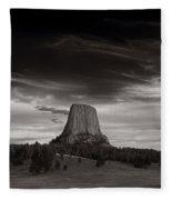 Last Light On Devils Tower Bw Fleece Blanket