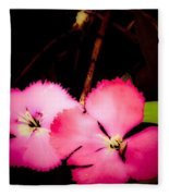 Last Of The Pink Dianthus Flowers Fleece Blanket