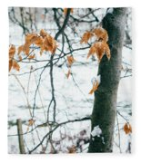 Last Snowy Leaves Fleece Blanket