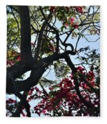 Late Afternoon Tree Silhouette With Bougainvilleas I Fleece Blanket