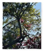 Late Afternoon Tree Silhouette With Bougainvileas II Fleece Blanket