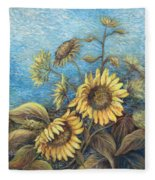 Late Sunflowers  Fleece Blanket