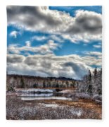 Late Winter At The Tobie Trail Bridge Fleece Blanket