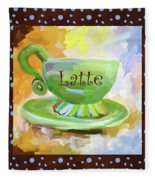Latte Coffee Cup With Blue Dots Fleece Blanket