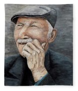 Laughing Old Man Fleece Blanket