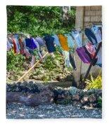 Laundry Drying In The Wind Fleece Blanket