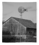 Laurel Road Barn In Black And White Fleece Blanket