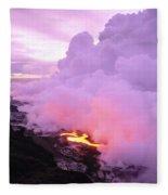 Lava Enters Ocean Fleece Blanket