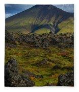 Lava Field And Mountain - Iceland Fleece Blanket