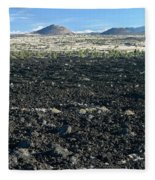Lava Flow And Schonchin Butte, Lava Beds Nm, California, Usa Fleece Blanket