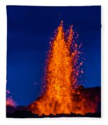 Lava Fountains At The Holuhraun Fissure Fleece Blanket