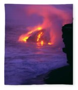 Lava Meets Ocean Action Fleece Blanket