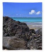 Lava Rocks At Haena Beach Fleece Blanket