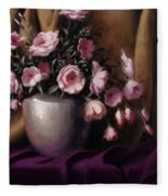 Lavander And Pink Flowers In Silver Vase Fleece Blanket