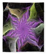 Lavendar Fractal Flower Fleece Blanket