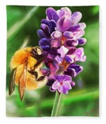 Lavender Bee Fleece Blanket