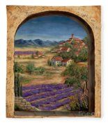 Lavender Fields And Village Of Provence Fleece Blanket