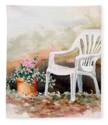 Lawn Chair With Flowers Fleece Blanket