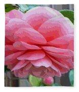 Layers Of Pink Camellia - Digital Art Fleece Blanket