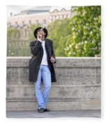 Lazy Day In Paris Fleece Blanket