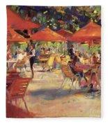 Le Cafe Du Jardin  Fleece Blanket