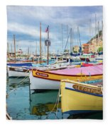 Le Fortune At Nice Harbor, France Fleece Blanket