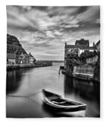 Leading Light At Staithes Fleece Blanket