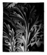 Leaf Detail 2 Black And White Fleece Blanket