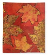 Leaf Prints And Zentangles Fleece Blanket