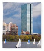 Lean Into It- Sailboats By The Hancock On The Charles River Boston Ma Fleece Blanket