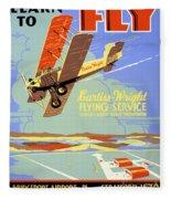 Learn To Fly Vintage Poster Restored Fleece Blanket