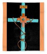 Leather And Stone Cross Fleece Blanket