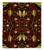 Leather In Floral Harmony And Peace Fleece Blanket