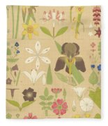 Leaves And Flowers From Nature Fleece Blanket