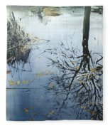 Leaves And Reeds On Tree Reflection Fleece Blanket