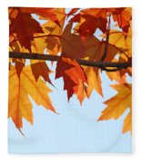 Leaves Autumn Orange Sunlit Fall Leaves Blue Sky Baslee Troutman Fleece Blanket