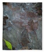 Leaves In Ice At Upper Creek Falls Fleece Blanket