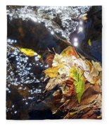 Leaves In River Fleece Blanket