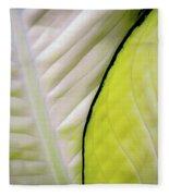 Leaves In White Fleece Blanket