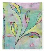 Leaves On Abstract Background Fleece Blanket