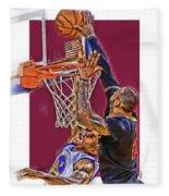 Lebron James Cleveland Cavaliers Oil Art Fleece Blanket