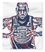 Lebron James Cleveland Cavaliers Pixel Art 54 Fleece Blanket