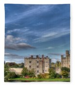 Leeds Castle And Moat Rear View Fleece Blanket