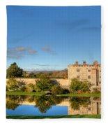 Leeds Castle And Moat Reflections Fleece Blanket