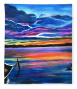 Left Alone A Seascape Boat Painting At Sunset  Fleece Blanket