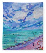 Left Panel Of Triptych Busy Relaxing Fleece Blanket