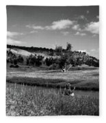 Legend Of The Bear Wyoming Devils Tower Panorama Bw Fleece Blanket